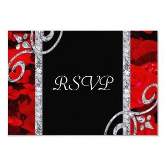 Karminrote Rote Rosen u. Wedding Diamant-Wirbel Karte