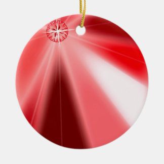 Karminrote Sternexplosion Keramik Ornament