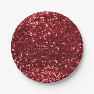 Karminroter roter Imitat-Glitter-Schein-Druck Pappteller