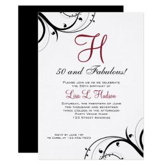 Karminroter roter Schwarz-weißer Wirbels-50. 12,7 X 17,8 Cm Einladungskarte