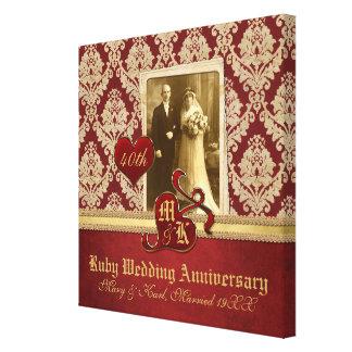 Karminrotes Hochzeitstag-Antiken-Damast-Goldrot Gespannte Galeriedrucke