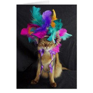 Karneval Kitteh Gruß-Karte, Umschlag Karte