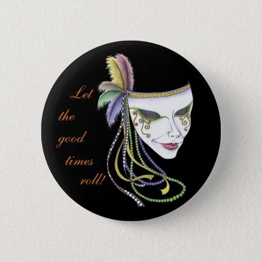 Karneval-Masken-Knopf Runder Button 5,7 Cm