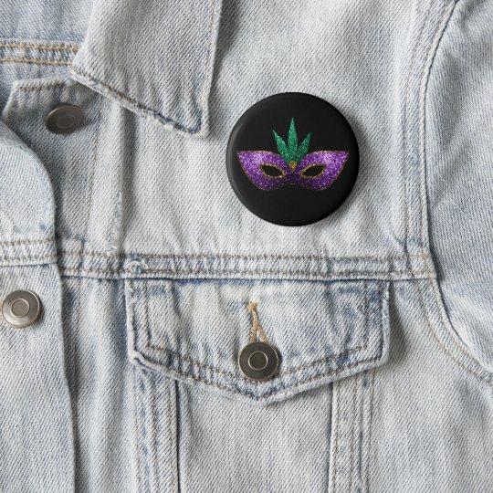Karneval-Masken-lila grünes GoldGlitzern Runder Button 5,7 Cm