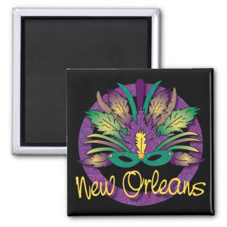 Karneval-Masken-Magnet - New Orleans, LA Quadratischer Magnet