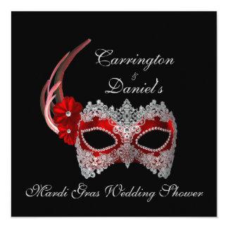 """""""Karneval-Polterabend-"""" - rote Maske mit Spitze Quadratische 13,3 Cm Einladungskarte"""
