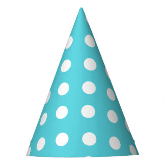 Karnevals-Aqua-Rückseiten-großes Weiß punktiert Partyhütchen
