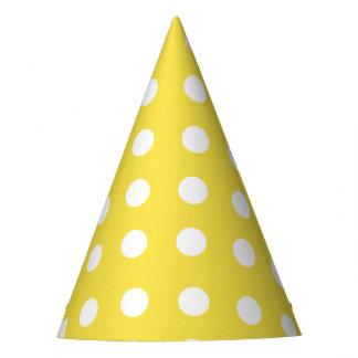 Karnevals-Gelb-Rückseiten-großes Weiß punktiert Partyhütchen