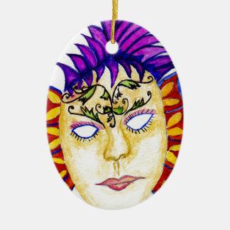 Karnevals-Masken-Aquarell 2 Ovales Keramik Ornament