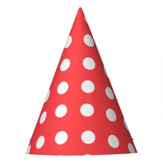 Karnevals-Rot-Rückseiten-großes Weiß punktiert Partyhütchen