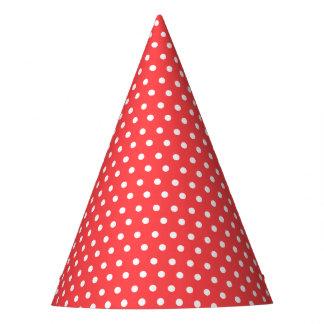 Karnevals-Rot-Rückseiten-kleines Weiß punktiert Partyhütchen