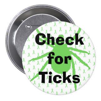 Karo für Ticken Lyme Krankheits-Bewusstseins-Knopf Runder Button 7,6 Cm