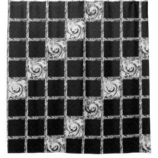 Karomuster Schwarz-weiß Duschvorhang