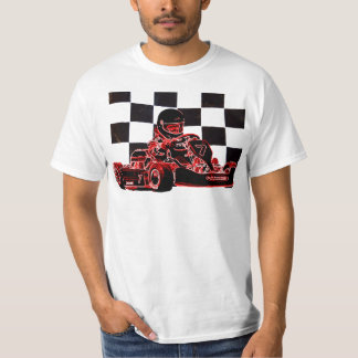 Kart laufendes Rot/Zielflagge T-Shirt
