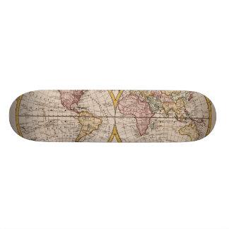 Karte 1782 der Welt durch George Augustus Baldwyn Individuelles Skateboard
