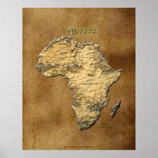 Karte 3D von AFRIKA auf Pergament-Kunst-Plakat Poster