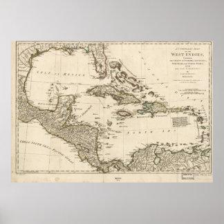 Karte der Antillen durch Samuel Dunn (1774) Poster