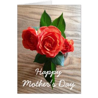 Karte der orange Rosen-glückliche Mutter Tages