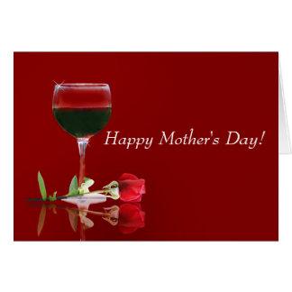 Karte der Rosen-und Rotwein-Mutter Tages