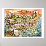 Karte der Vereinigten Staaten c1890 Plakat