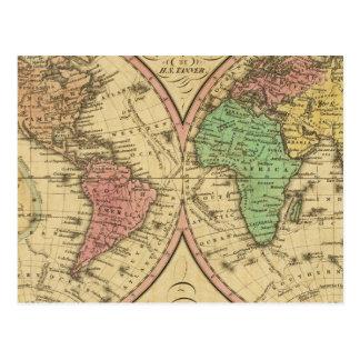 Karte der Welt auf der kugelförmigen Projektion Postkarten