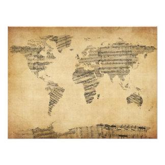 Karte der Weltkarte von den alten Noten Foto