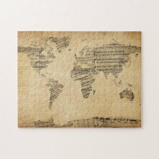 Karte der Weltkarte von den alten Noten Jigsaw Puzzles