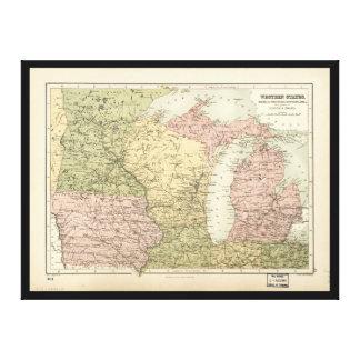 Karte des amerikanischen Mittelwestens (1873) Leinwanddruck