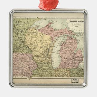 Karte des amerikanischen Mittelwestens (1873) Silbernes Ornament