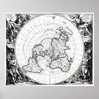 Karte des Quadrats und stationären flachen des Poster
