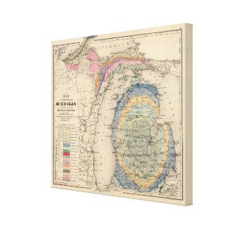 Karte des Staat von Michigan Leinwanddruck