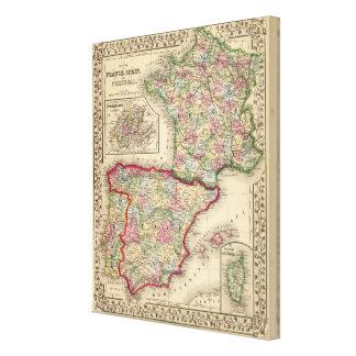 Karte Frankreichs, Spanien, Portugal durch Mitchel Leinwand Drucke