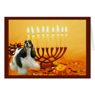 Karte Menorah1 Cocker spaniels Chanukah