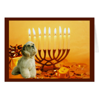 Karte Menorah4 Cocker spaniels Chanukah