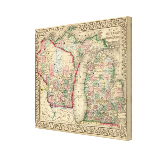 Karte Michigans, Wisconsin durch Mitchell Leinwand Drucke