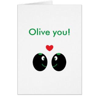 """Karte """"Oliven-Sie"""" ich Liebesie Valentines Tages"""