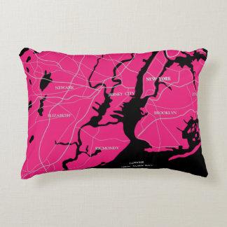Karte rosa New York, Staat Deko Kissen