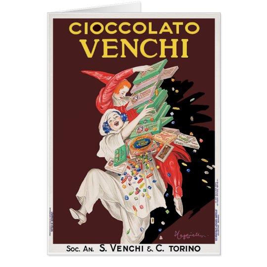 Karte: Vintage Kunst - Cioccolato - Schokoladen Grußkarte