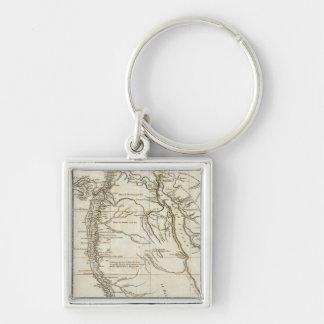 Karte von Ägypten Silberfarbener Quadratischer Schlüsselanhänger