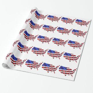 Karte von Amerika-amerikanischer Flagge Geschenkpapier