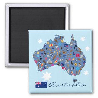 Karte von Australien mit kulturellen Einzelteilen Quadratischer Magnet