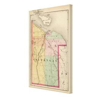Karte von Cheboygan Landkreis, Michigan Leinwand Druck