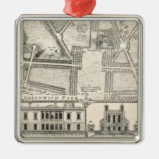 Karte von Greenwich-Park Silbernes Ornament