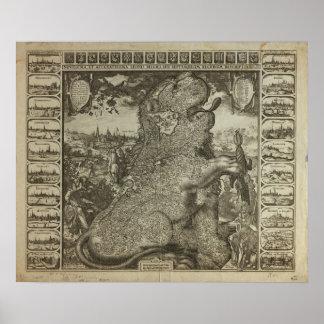 Karte von Holland 1609 - Claes Jansz Visscher Poster