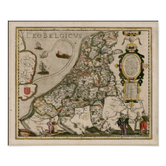 Karte von Holland 1617 - Löwe Belgicus Poster