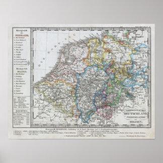 Karte von Holland 1862 - durch Justus Perthes Poster