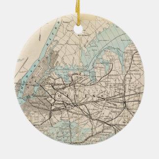 Karte von Königen, Queens, Long Island Keramik Ornament