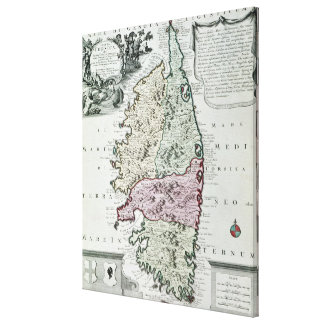 Karte von Korsika Leinwanddrucke