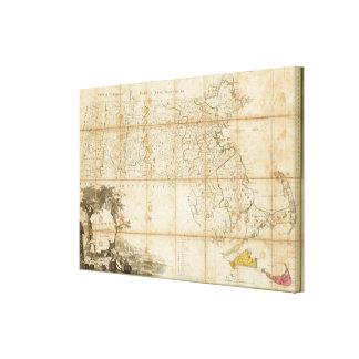 Karte von Massachusetts Galerie Faltleinwand