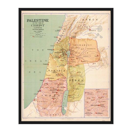Karte von Palästina in der Zeit von Christus (zu Leinwanddruck